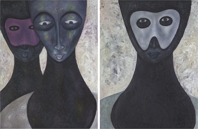 Anthony Okello (Kenyan, born 1976) Masquerade, 2013 each 42 x 63cm (16 9/16 x 24 13/16).  diptych (2)