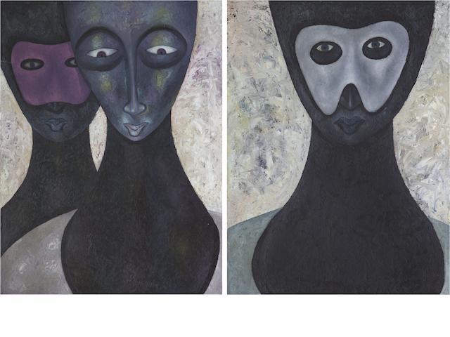 Anthony Okello (Kenyan, born 1976) Masquerade diptych, (2).