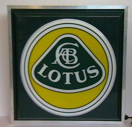 A Lotus illuminated garage sign,
