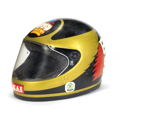 Barry Sheene's Team Akai Yamaha race helmet, circa 1980,