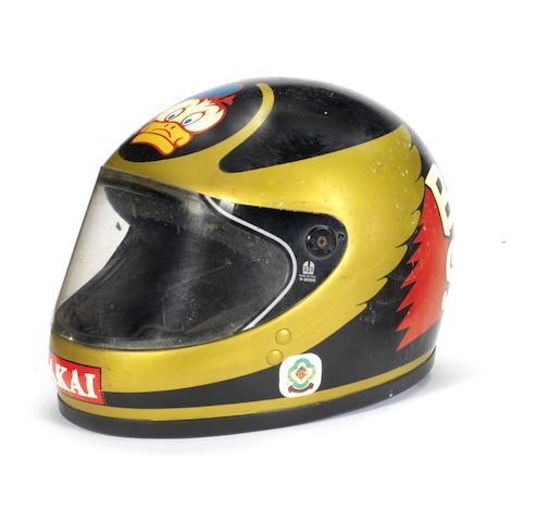 Barry Sheene's Team Akai Yamaha race helmet, circa 1980,