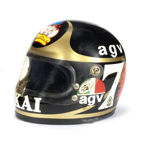 Barry Sheene's Akai Yamaha race helmet, 1981-82,