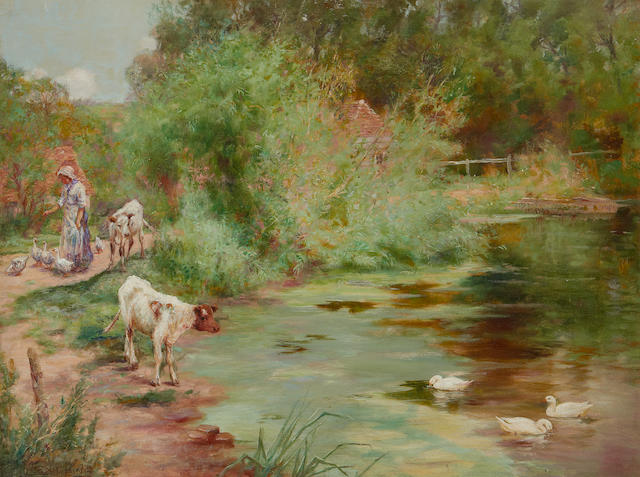 Henry John Yeend King (British, 1855-1924) Feeding the ducks