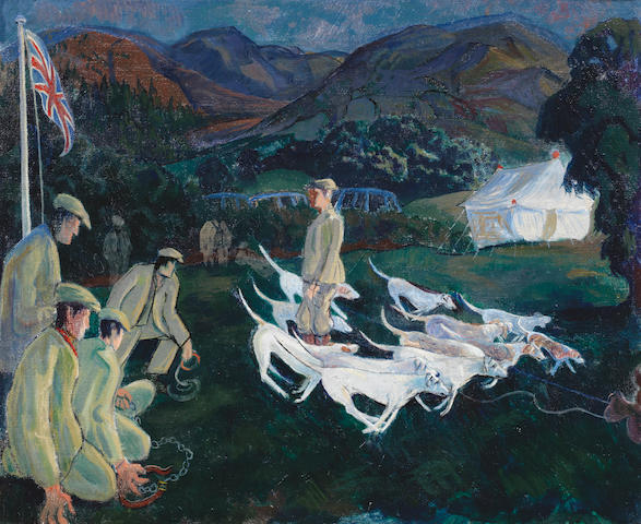 Gilbert Spencer R.A. (British, 1892-1979) Start of a Hound Trail, Grasmere Sports 45.7 x 55.8 cm. (18 x 22 in.)