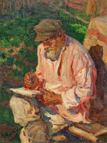 Alexandr Victorovich Moravov (Russian, 1878-1951) A quiet moment