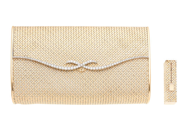 A diamond-set evening bag and lipstick holder (2) (illustrated above)