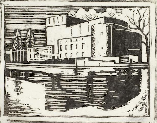 Ursula Fookes (British, 1906-1991) Building on a river Linocut printed in black, on tissue thin japan, signed in pencil, with margins, 145 x 190mm (5 3/4 x 7 1/2in) (B); together with the preparatory pencil study, on tracing paper, inscribed in pencil, 175 x 225mm (7 x 9in)(SH)(2) unframed