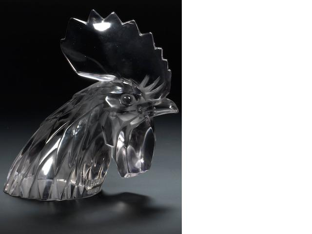 A Rene Lalique 'Tete de Coq' glass mascot, French, introduced 3rd February 1928,   17cm high.