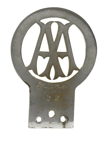 An early Automobile Association member's badge, number 22,