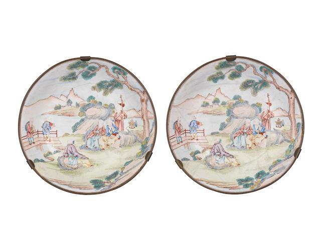 A rare pair of painted enamel dishes Qianlong six-character marks and of the period