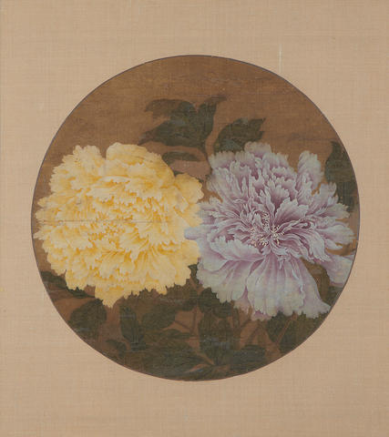 18th Century Chinese watercolour of peonies