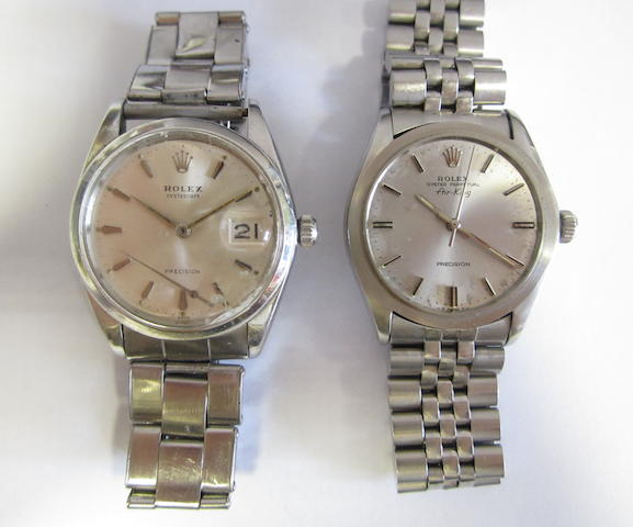 A lot of two stainless steel Rolex bracelet watches (AF)