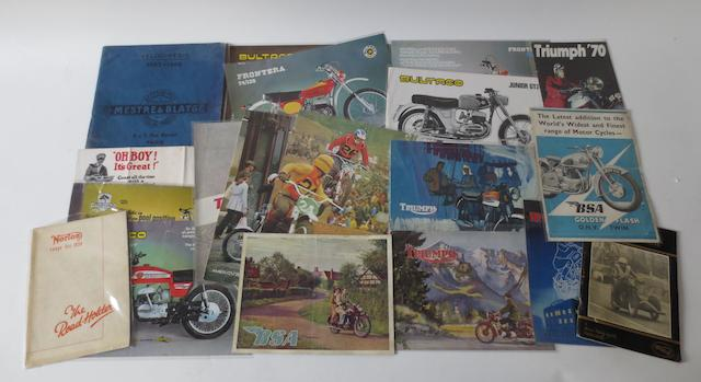 Assorted motorcycle sales brochures,