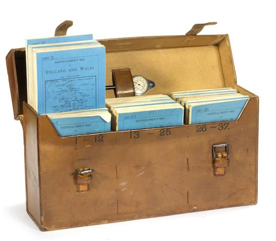 A leather-cased set of Bartholomew's road maps for England, circa 1909,