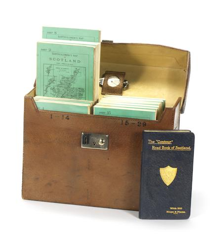 A leather-cased set of Bartholomew's road maps for Scotland, 1912,