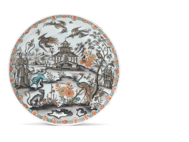 A very rare Chinese porcelain dish decorated in the Preissler workshop in Kronstadt (Bohemia), circa 1730