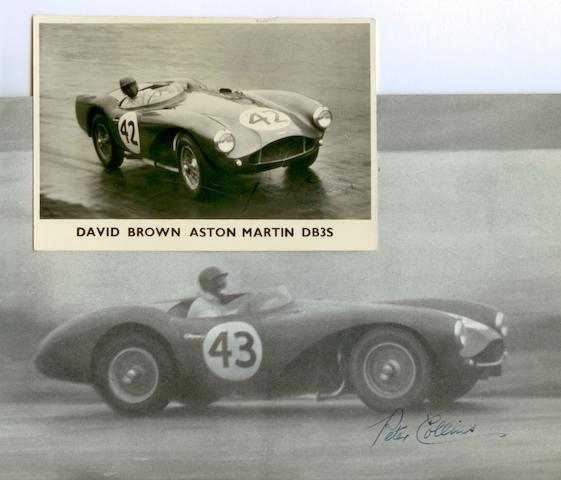 A David Brown Aston Martin DB3S promotional photograph signed by Peter Collins,