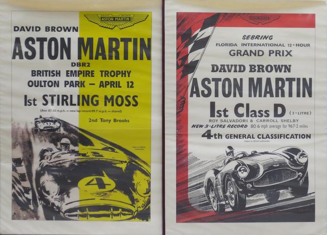 Four reproduction Aston Martin race victory  posters,