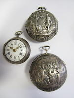 A lot of six silver key wind pocket watches