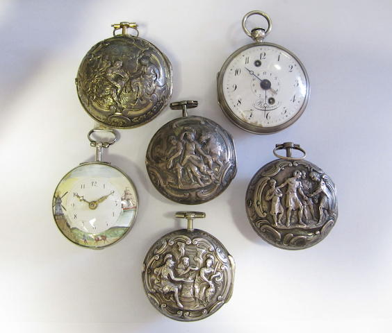 A lot of six key wind pocket watches