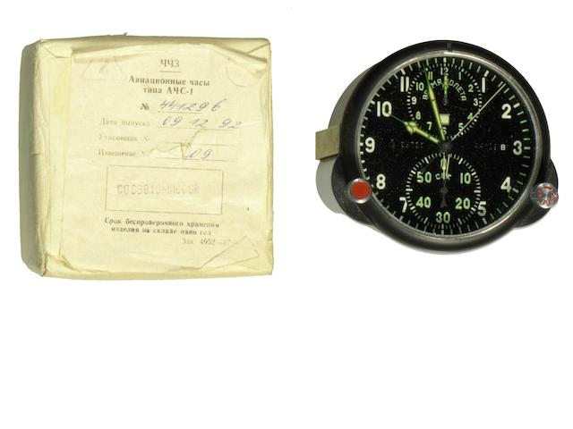 A Molniga PVD coated manual wind chronograph MIG aircraft cockpit timepiece Ref:ACS-1, Circa 1992 (2)