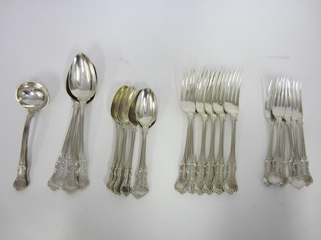 A Prince's pattern silver canteen for six settings London 1894 and various makers,