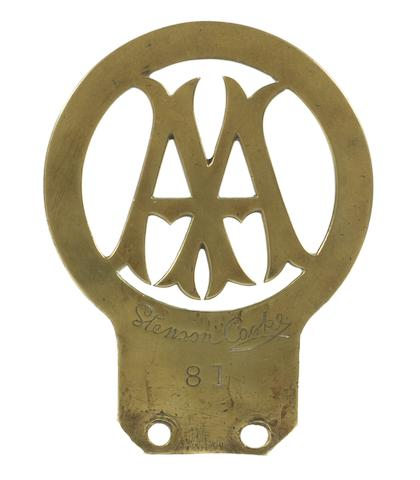 An early Automobile Association brass car badge, Number 81, issued to Michael Stephens, April 1906,
