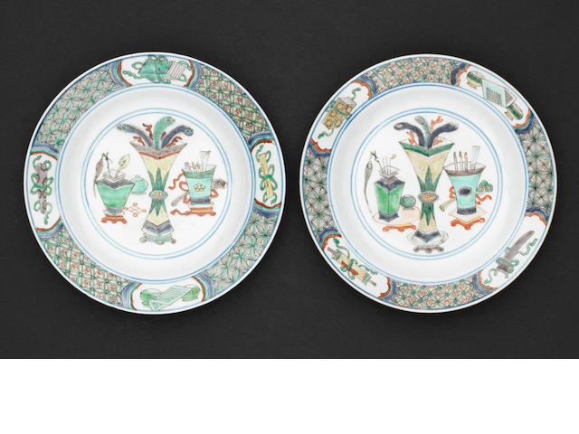 A pair of famille verte saucer dishes Kangxi six-character mark and of the period