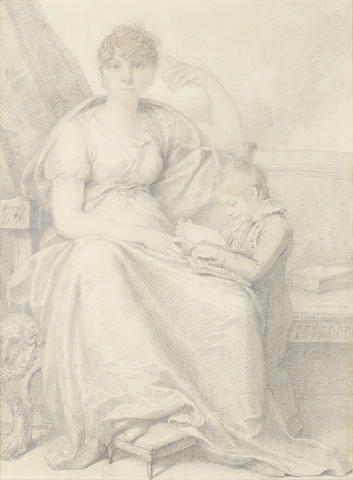 Richard Cosway, R.A. (British, 1742-1821) Mrs Woodforde and her son: the former, seated with her foot upon a footstool, wearing dress and stole draped about her shoulders, her curling hair upswept; the latter, wearing Eton suit, standing beside his mother and reading an open book in her lap
