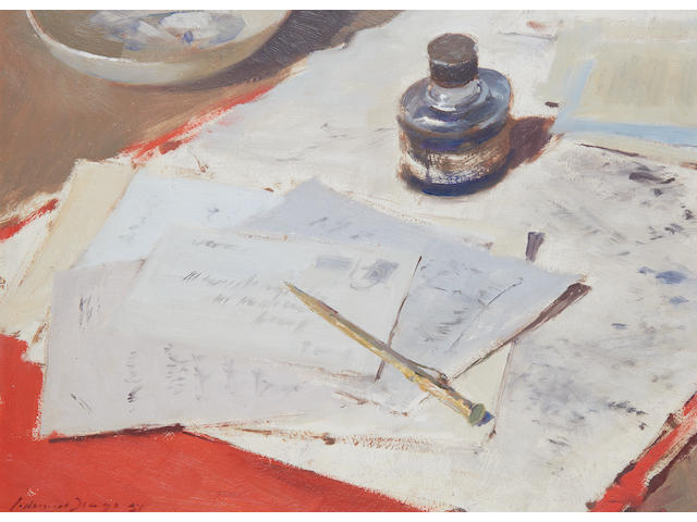 Edward Seago R.W.S. (British, 1910-1974) Desk top still life