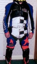 Two sets of Lewis riding leathers,