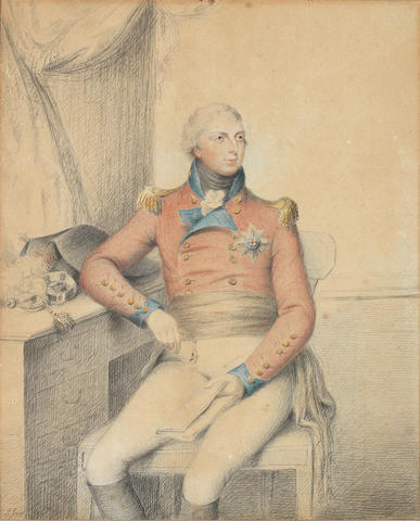 Philip Jean (British, 1755-1802) A rare work on paper portraying Prince William Frederick, Duke of Gloucester and Edinburgh (1776–1834), seated at a writing table and wearing black riding boots, white breeches, black cummerbund, scarlet double-breasted jacket with blue cuffs, facings and standing collar, gold epaulettes and brass buttons, the breast star of the Order of the Garter secured to his left breast, white frilled chemise and black stock, his hair lightly powdered