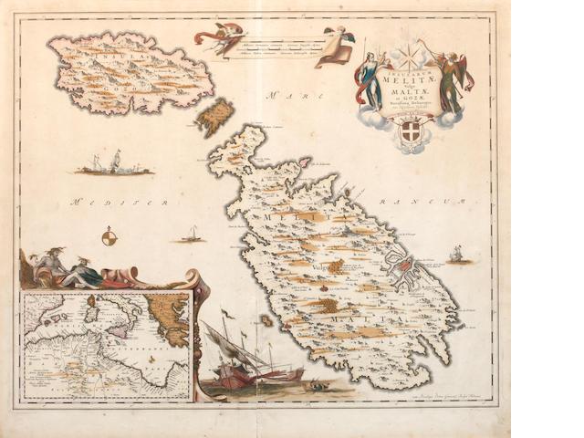 MALTA VISSCHER (NICOLAUS) Insularum Melitae vulgo Malta et Gozae, [c.1700]