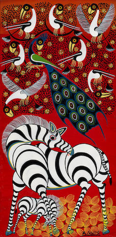 Rajabi Chiwaya (born Tanzanian 1951) Zebra and birds