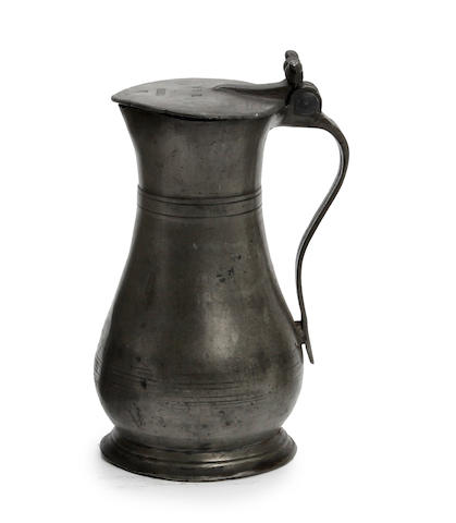 A late 18th century Guernsey pint lidded pewter measure