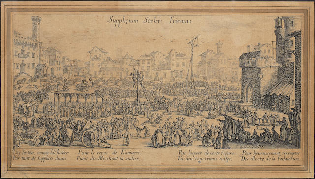 Jacques Callot (French, 1592-1635) Vue du Pont-Neuf; Les Supplices Two etchings, on wove, the first c.1630, possibly a fourth state with an 'Israel Silvestre' inscription rubbed out lower left, 165 x 340mm (6 1/2 x 13 3/8in)(PL); the second c.1634, a second state, trimmed to platemark, 115 x 220mm (4 1/2 x 8 5/8in)(PL) 2 1 unframed