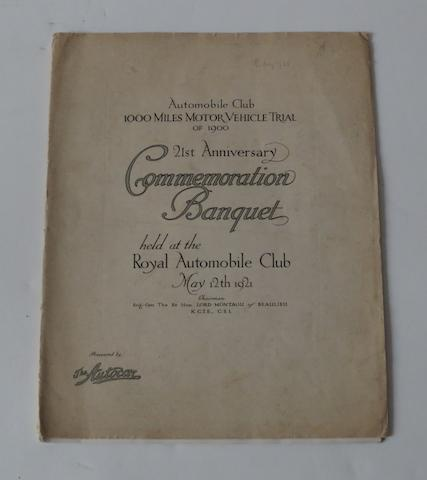 An interesting 1000 Miles Motor Vehicle Trial of 1900 21st Anniversary Commemoration Banquet brochure,