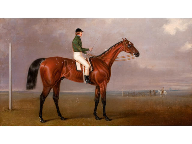 Robert Drewell (British, 1844-1860) 'Lord William Hill, Captain Royal Scots Greys' (1816-1844) riding a race horse, wearing racing colours,