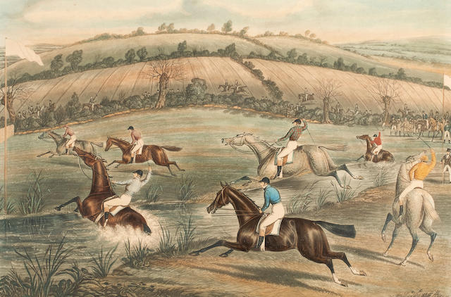 After Charles Hunt Cheltenham Annual Grand Steeplechase, The set plates 1-4 comprises The Start, Frogmill Brook, The Brook Forded, and Coming In,  engravings with aquatint printed in colours and finished by hand, published by I.W. Laird, 1841,