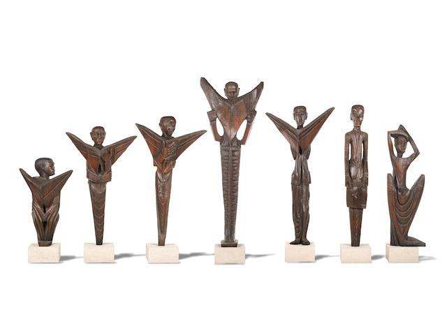 Ben (Benedict Chukwukadibia) Enwonwu, M.B.E (Nigerian, 1917-1994) Seven wooden sculptures commissioned for Daily Mirror 1961