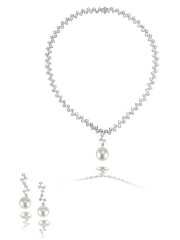 A diamond and cultured pearl necklace and earring suite (2)