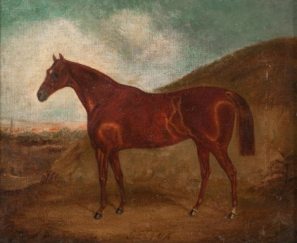 English School, late 19th Century Portrait of a chestnut horse in a landscape
