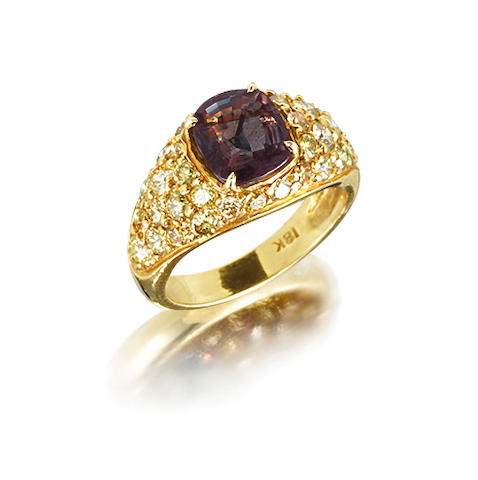An alexandrite and coloured diamond ring
