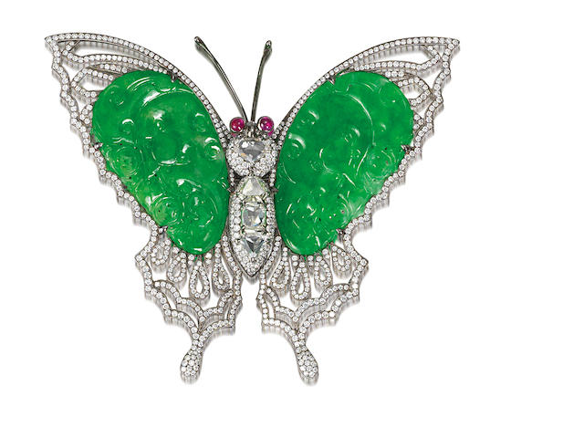 A jadeite, ruby and diamond brooch