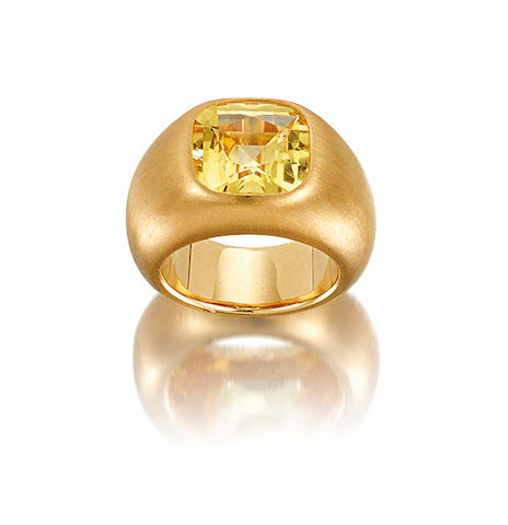A yellow sapphire ring