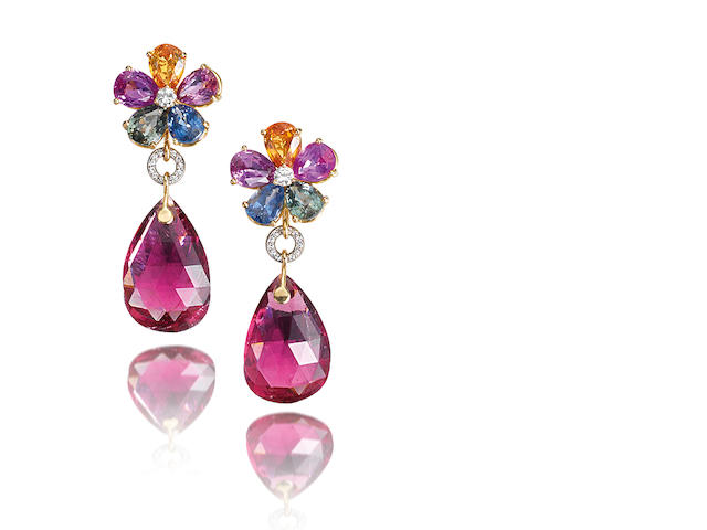 A pair of tourmaline, gem and diamond earrings