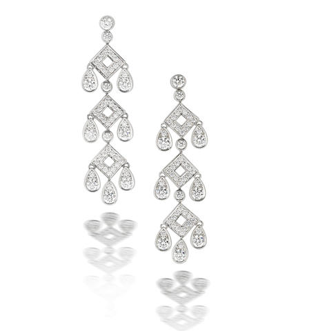 A pair of diamond pendent earrings, by Tiffany & Co.