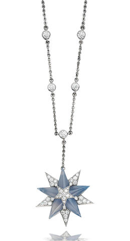 A chalcedony and diamond pendant necklace, by Tiffany & Co.