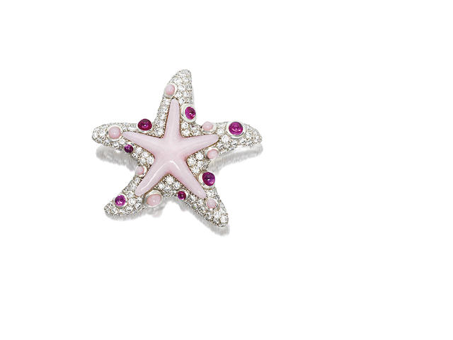 A pink opal, pink sapphire and diamond brooch, by Tiffany & Co.