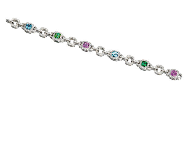 A pink sapphire, tourmaline, aquamarine and diamond bracelet, by Tiffany & Co.